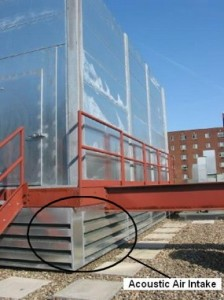 Acoustic Louvers on Rooftop Chiller Enclosure