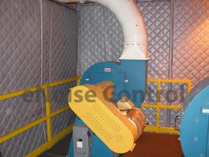Fan enclosure using sound curtains