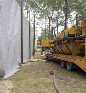 Sound blankets near drilling equipment