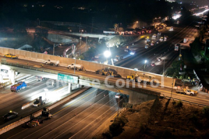 overpass construction blankets to control noise