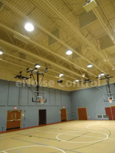 gym with wall and ceiling acoustic treatment