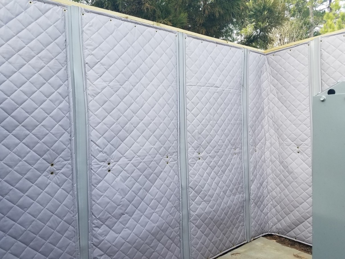 All weather, exterior rated quilted sound blankets